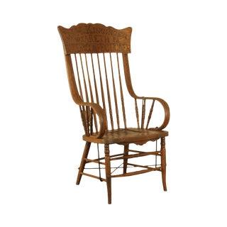 W. H. Kinginger Nazareth P. A. Baker and Confectioner Engraved Antique Oak Armchair For Sale