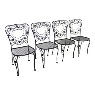 Vintage Meadowcraft Dogwood Wrought Iron Patio Dining Side Chairs - Set of 4 For Sale