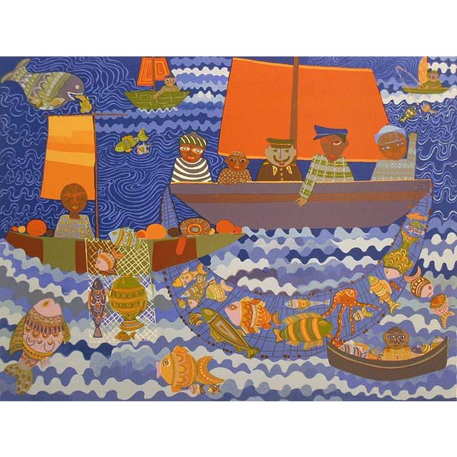 """1980s Josette Bardoux """"Fishing Boats"""" Signed Numbered Ocean Scene Unframed Lithograph For Sale"""