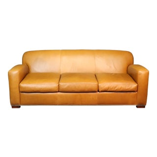 Ralph Lauren Art Deco Style Leather Sofa in Butterscotch For Sale