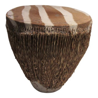 Vintage African Drum With Zebra Hide For Sale