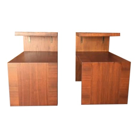 Mid-Century Vintage Walnut Side Tables - A Pair - Image 1 of 8