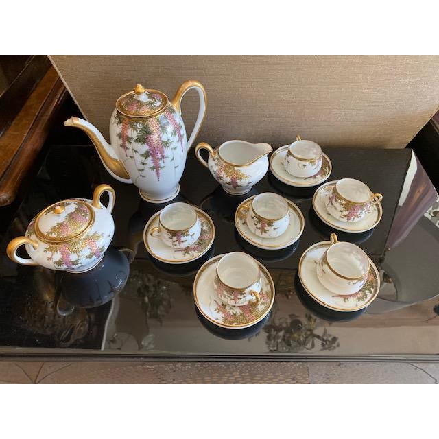 Vintage Porcelain Japanese Satsuma Hand Painted Tea Set - Set of 15 For Sale - Image 12 of 12