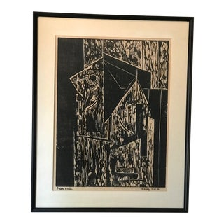 Vintage Mid-Century Modern Large Black & White Abstract Woodblock Print For Sale