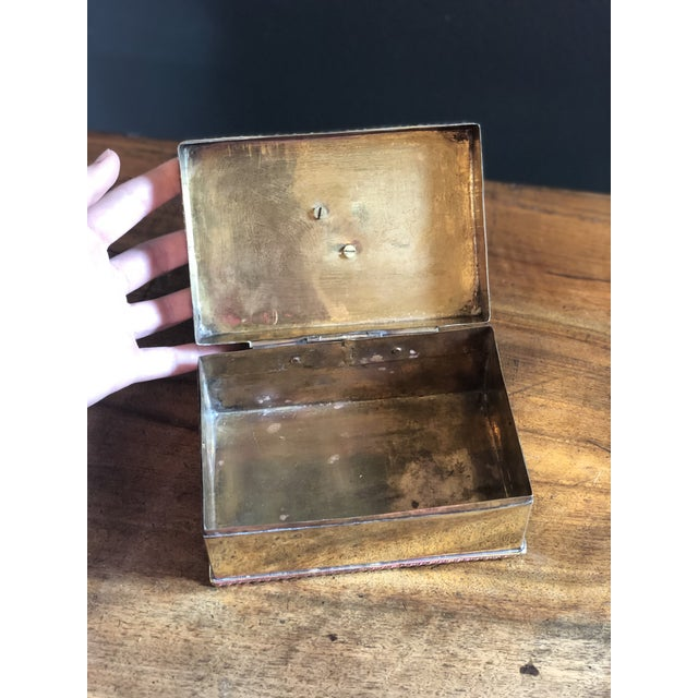Metal Vintage Elephant Brass Box For Sale - Image 7 of 10