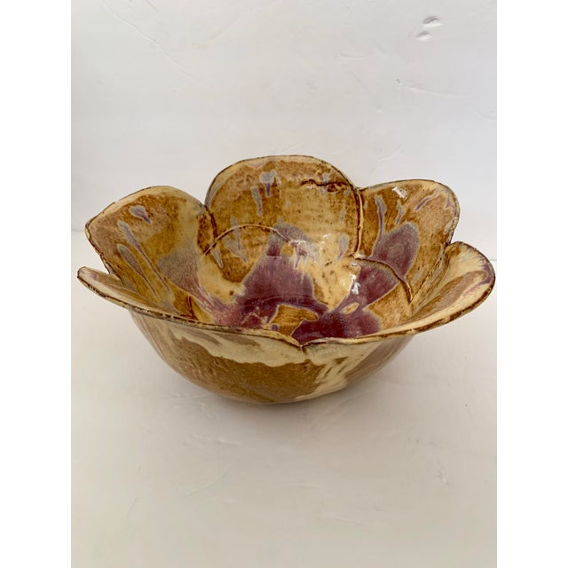 Beautiful handmade glazed terracotta bowl in lovely shades of tans, browns and purples. Signed on base Karen 2006.