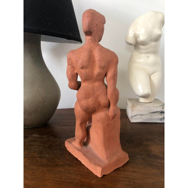Mid 20th Century Vintage Figurative Nude Woman Terra Cotta Sculpture For Sale - Image 5 of 12