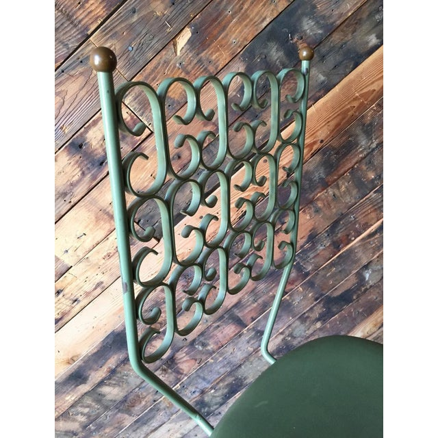 Salterini Painted Wrought Iron Sage Green Barstool - Image 5 of 5