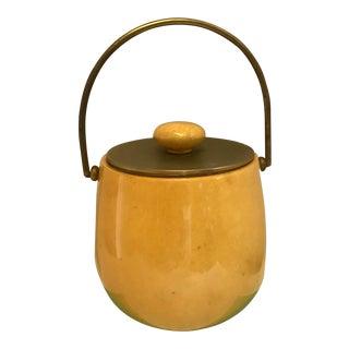 1960s Mid-Century Modern Ceramic & Brass Ice Bucket For Sale