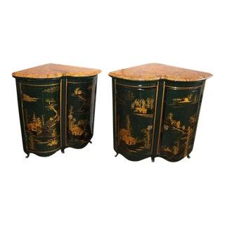 Maison Jansen Louis XV Style Green & Gilt Asian Encoignures - A Pair