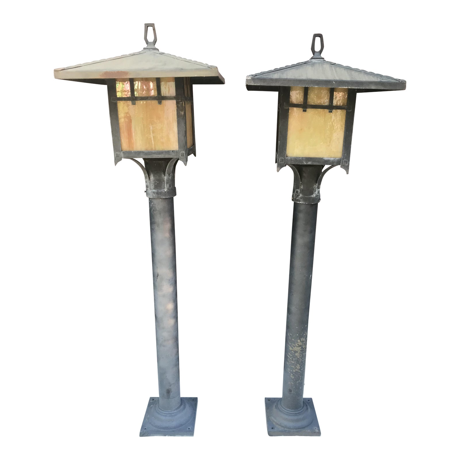 Vintage Meyda Style Asian Inspired Outdoor Lamp Posts  A