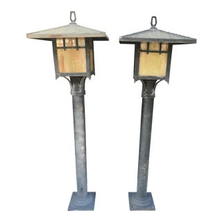 Vintage Meyda Style Asian Inspired Outdoor Lamp Posts - a Pair For Sale