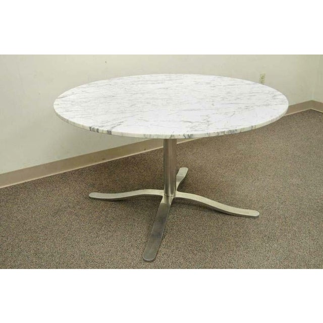 1960s Mid Century Modern Nicos Zographos Round Marble Top Chrome Steel Pedestal Base Dining Table Chairish
