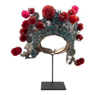 Antique Chinese Theatre Opera Headdress, Turquoise/Silver, Red/Fuchsia Pom-Poms For Sale