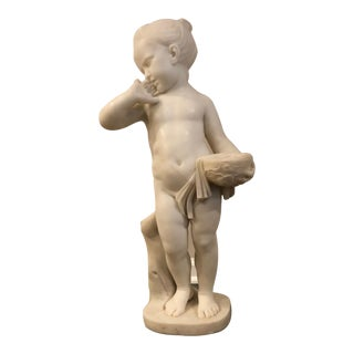 Charles Antoine-Bridan Marble Child With Bird's Nest Sculpture For Sale