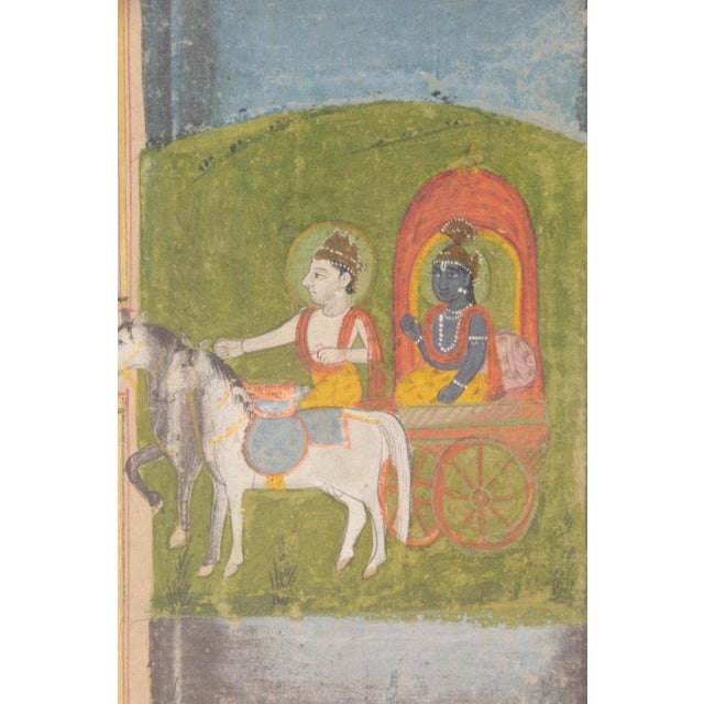 Krishna in Chariot Miniature Indian Painting For Sale - Image 4 of 10