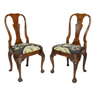 Pair of George II Walnut Side Chairs, Possibly Dutch For Sale
