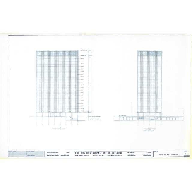 Bauhaus Mies Van Der Rohe Blueprint - One Charles Center, Baltimore 1961 - Elevations For Sale - Image 3 of 13
