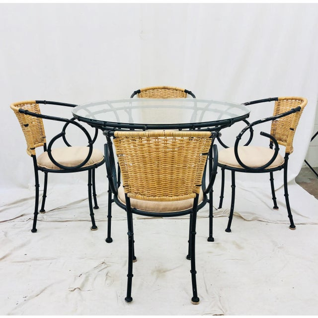 Stunning Vintage Mid Century Chinese Chippendale & Hollywood Regency Style Faux Bamboo Shaped Metal Chairs with Natural...