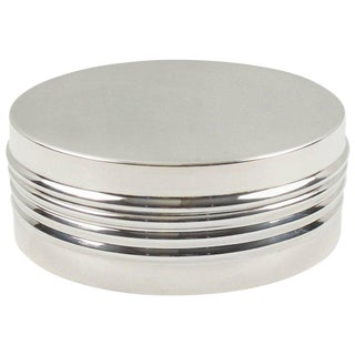Christian Dior France 1970s Silver Plate Round Decorative Box For Sale