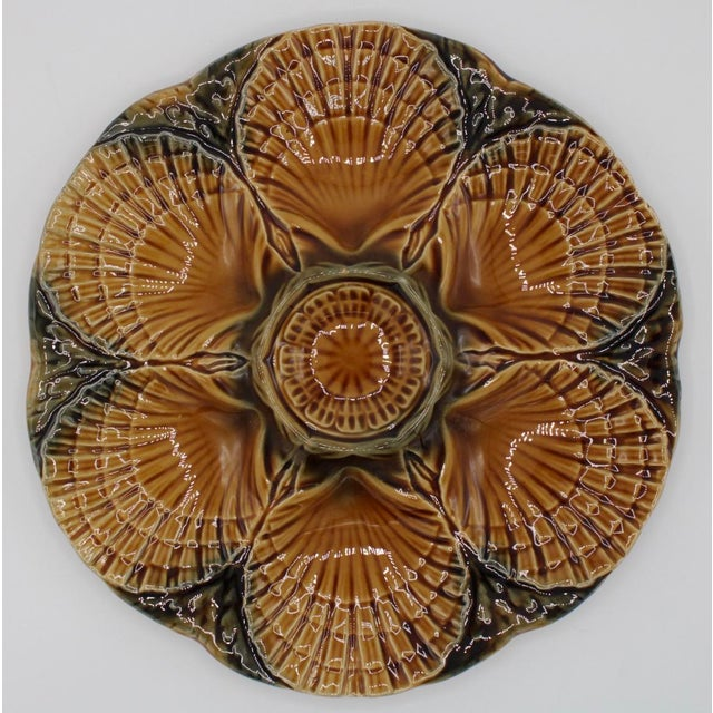 1930s French Sarreguemines Scallop Shell Oyster Plate For Sale - Image 9 of 9