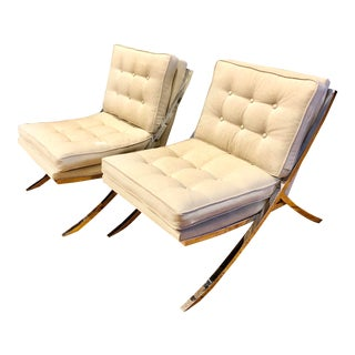 Vintage Contemporary Style Chrome and Linen Mueller Chairs - a Pair For Sale