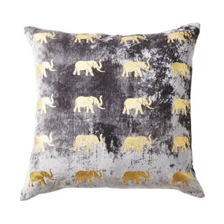 Meru Pewter Velvet Accent Pillow With Elephants