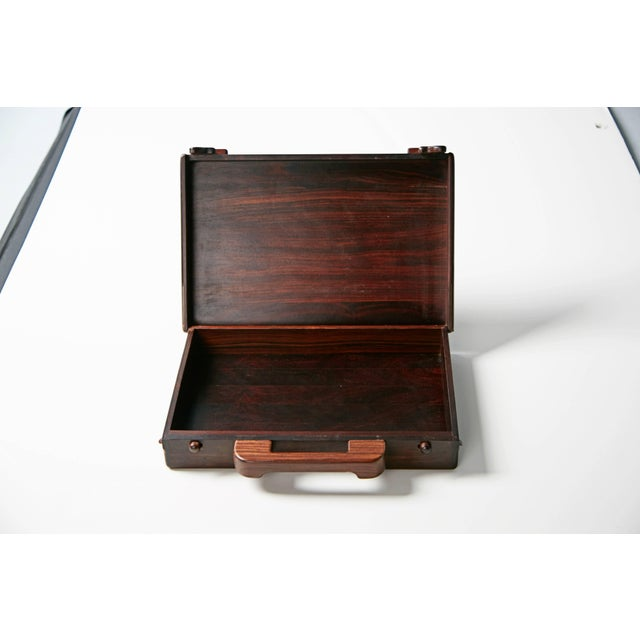 Senal 1970s Don Shoemaker for Señal Exotic Wood Inlaid Decorative Briefcase For Sale - Image 4 of 11