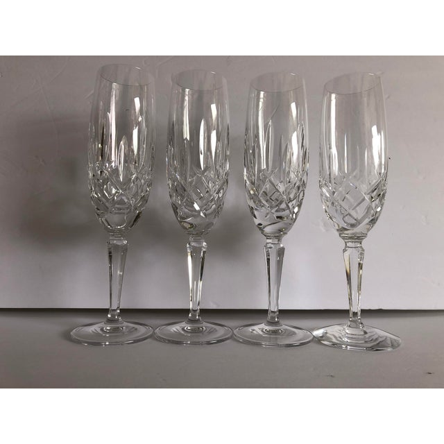 Tan Gorham Modern Crystal Fluted Champagne Glasses S-4 For Sale - Image 8 of 8