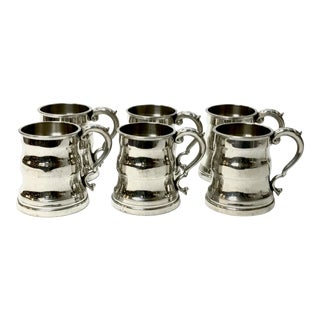 Mid 20th Century English Pewter Mugs - Set of 6 For Sale