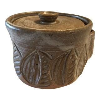 Vintage Lidded Pottery Butter/Spread Holder, Signed For Sale