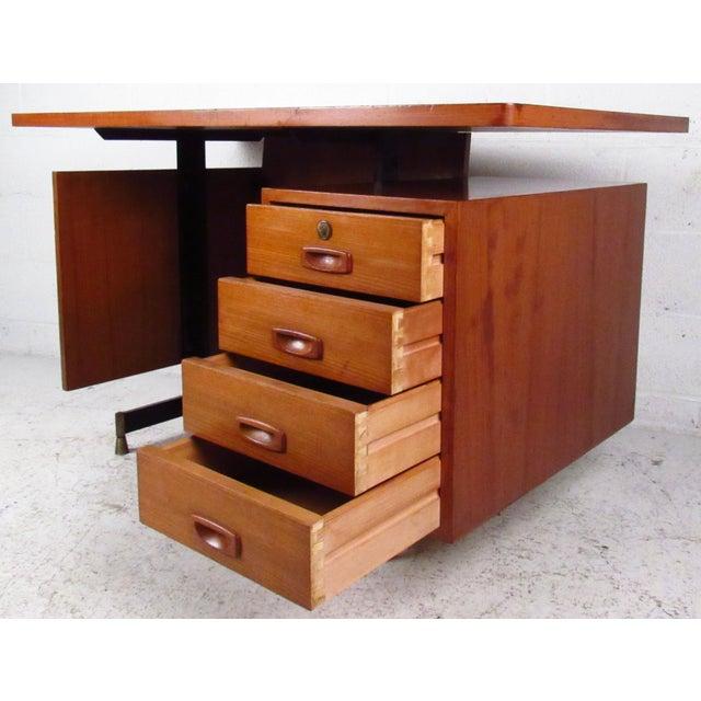 Mid-Century Teak Floating Top Desk - Image 5 of 11