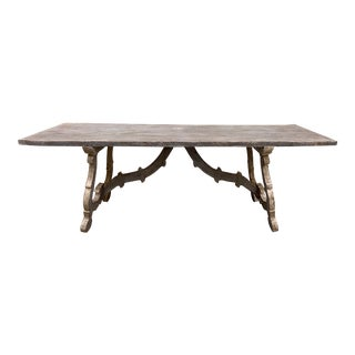 Italian Tuscan Style Painted Trestle Dining Table For Sale