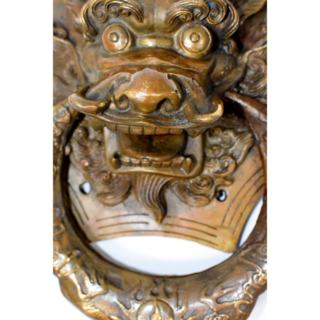 Vintage Medium Asian Dragon Door Knockers- a Pair For Sale - Image 4 of 13