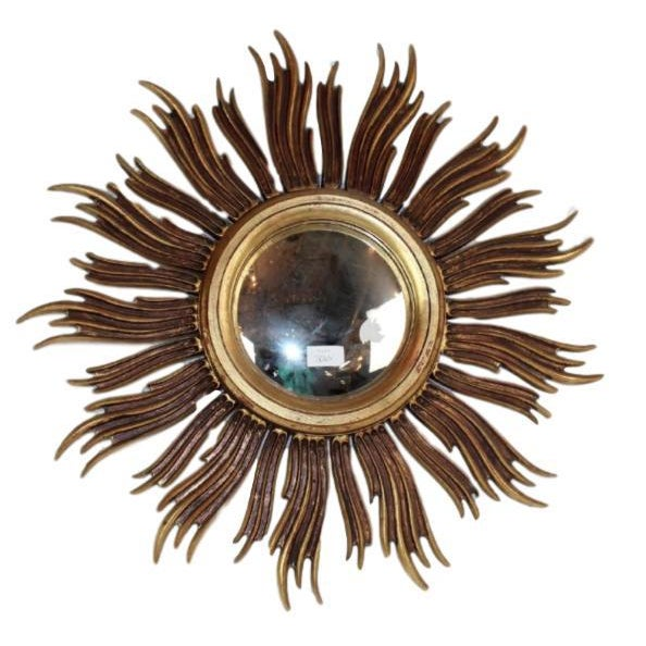 Vintage French Mid-Century Gilt Sunburst Mirror For Sale In Austin - Image 6 of 6
