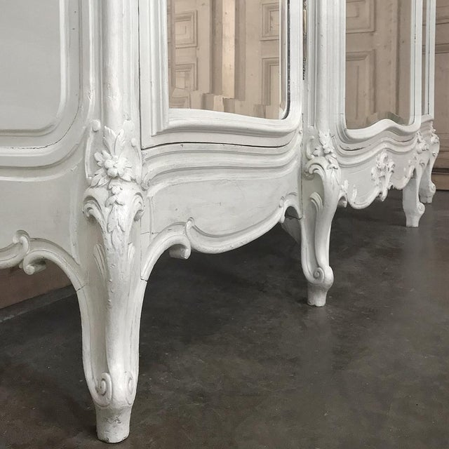19th Century French Louis XV Painted Triple Armoire For Sale - Image 9 of 13