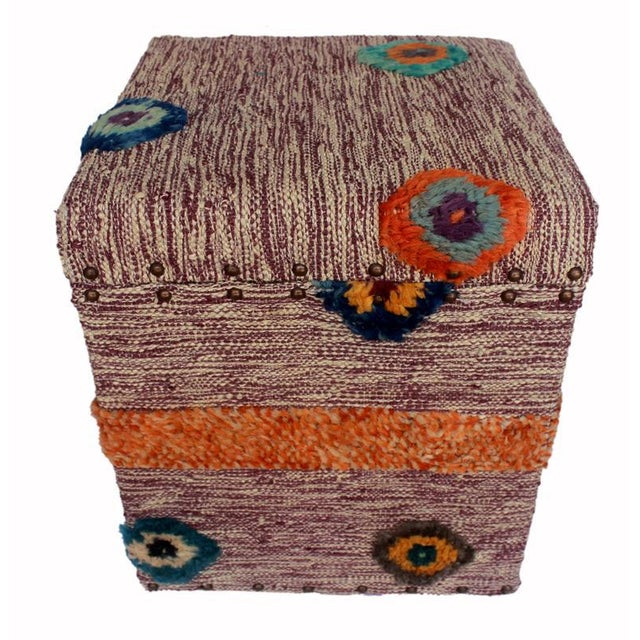 Asian Delmar Purple/Ivory Morrocan Wool Upholstered Handmade Storage Ottoman For Sale - Image 3 of 8
