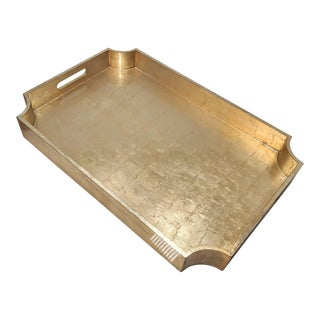 Hollywood Regency Gold Leaf Lacquer Tray For Sale