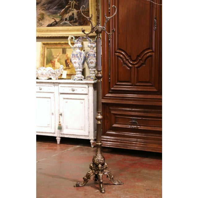 Early 20th Century Italian Gilt Brass Standing Hall Tree With Swivel Top For Sale - Image 11 of 11