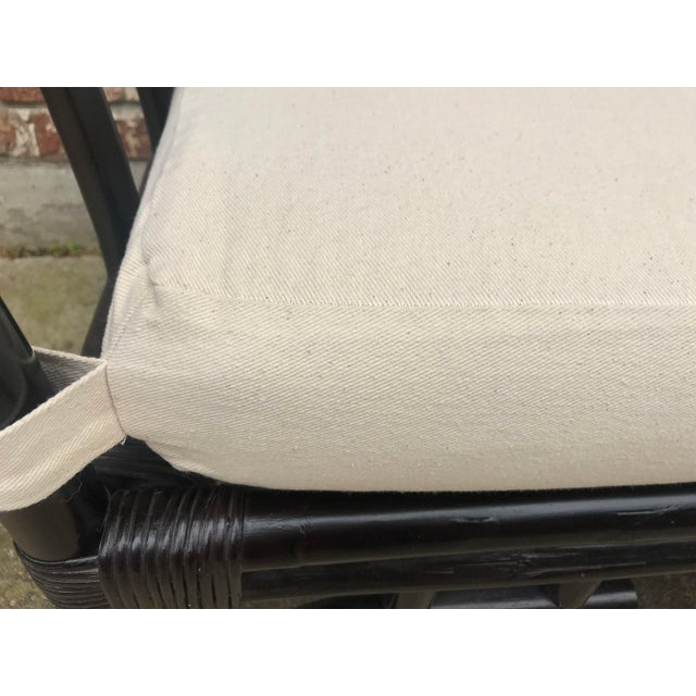 1970s Vintage Faux Bamboo Upholstered Bench For Sale - Image 10 of 13