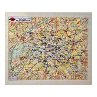 1955 Vintage Original Ratp Paris Metro Map For Sale