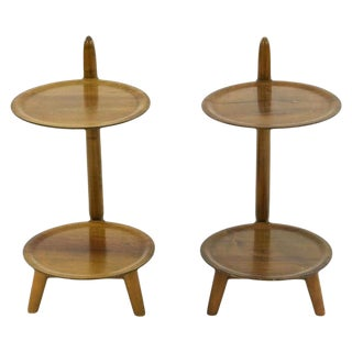 Danish Mid-Century Sculptural Two-Tier Side Tables in Teak For Sale