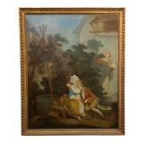 """Image of """"Peeping on French Lovers"""" 18th Century Oil Painting For Sale"""