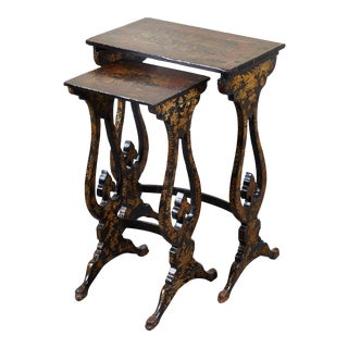 Pair of 19th C. English Chinoiserie Pine Tables For Sale