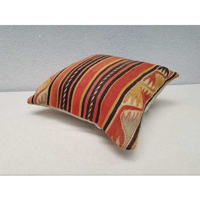 Cotton Vintage Turkish Kilim Pillow For Sale - Image 7 of 9