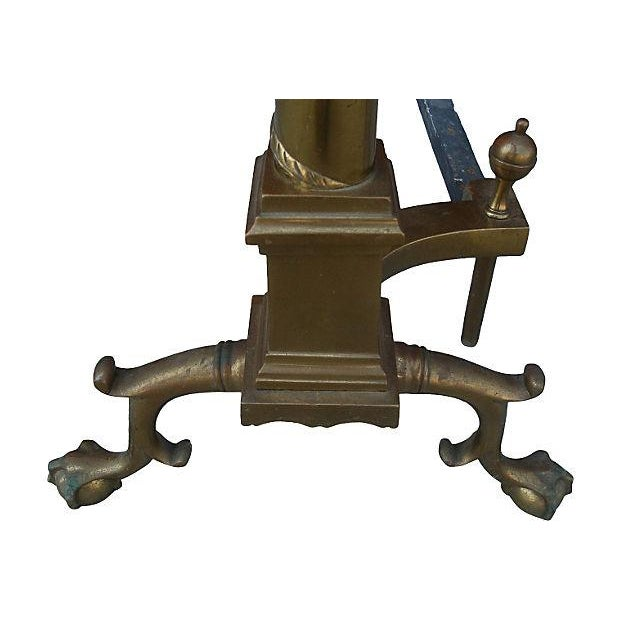 French Empire Brass Fireplace Andirons - Pair - Image 3 of 4