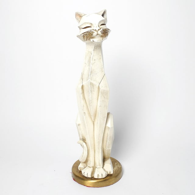 Universal Statuary Corp. Cat Figurine made in Chicago in the 1960s. This modernist statue stands on a brass pedestal in a...