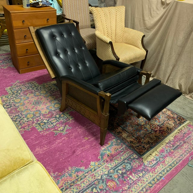 1970s Italian Provincial Burris Black Naugahyde and Caned Arm Recliner For Sale - Image 11 of 12