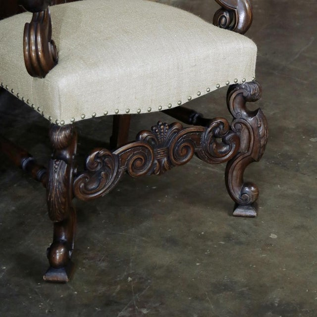 Wood 19th Century French Walnut Louis XIV Armchair For Sale - Image 7 of 13