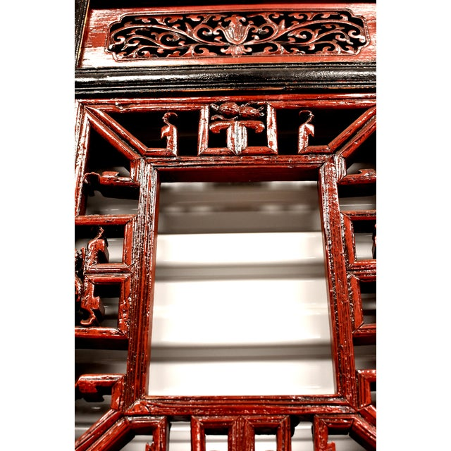 Mid 19th Century Antique Chinese Red and Black Screens - a Pair For Sale - Image 5 of 13